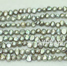 Freshwater pearl beads, dyed grey, 5-6mm potato. Sold per 14-inch strand.