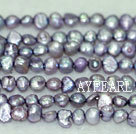 Freshwater pearl beads, dyed purple, 5-6mm potato. Sold per 14-inch strand.