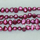 Freshwater pearl beads, dyed red, 5-6mm potato. Sold per 14-inch strand.