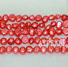 Potato shape freshwater pearl beads,Red,5-6mm