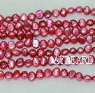 Potato shape freshwater pearl beads,Wine Red,5-6mm