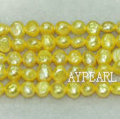 Potato shape freshwater pearl beads,Light Yellow,5-6mm