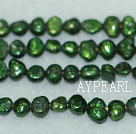 Potato shape freshwater pearl beads,Blackish Green ,5-6mm