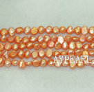 Potato shape freshwater pearl beads,Orange,5-6mm
