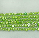 Potato shape freshwater pearl beads,Apple Green,5-6mm