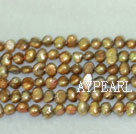 Freshwater pearl beads, dyed brown, 5-6mm potato.  Sold per 14-inch strand.