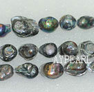 freshwater pearl beads, black, 10*16*18mm keshi. Sold per 15-inch strand.