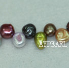 Freashwater pearl beads, multi-color,  5*7*9mm top-drilled keshi. Sold per 15.4-inch strand.