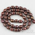 Rice Shape Freshwater Pearl Beads (Dyed), Dark Brown, 6-7mm, Sold per 14.6-Inch Strand