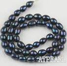 Rice Shape Freshwater Pearl Beads (Dyed), Black, 6-7mm, Sold per 14.6-Inch Strand