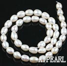 Rice Shape Natural Freshwater Pearl Beads, White, 7-8mm, Sold per 14.6-Inch Strand,7-8mm