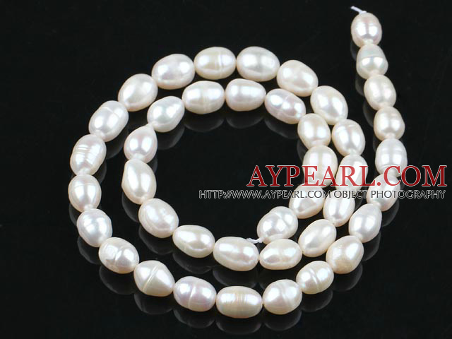 Rice Shape Natural Freshwater Pearl Beads, White, 7-8mm, Sold per 14.6-Inch Strand