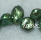 Freashwater pearl beads, green,  5*7*9mm top-drilled keshi. Sold per 15.4-inch strand.