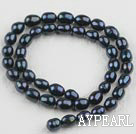 Rice Shape Freshwater Pearl Beads,Natural Black, 7-8mm, Sold per 14.6-Inch Strand