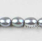 Rice Shape Freshwater Pearl Beads, Gray, 8-9mm, Sold per 14.6-Inch Strand