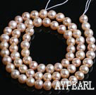 Freshwater Pearl Beads, Natural Pink, 5-6mm Round, Sold per 14.6-Inch Strand