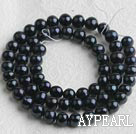 Freshwater Pearl Beads, Natural Black, 6-7mm, Sold per 14.6-Inch Strand