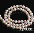 Freshwater Pearl Beads, Natural White Pink Purpur Color, 7-8mm, Sold per 15.7-Inch Strand