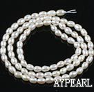 Pearl Beads, White, 3-3.5mm natural rice shape, Sold per 14.2-inch strand
