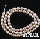 Pearl Beads, Pink, 4-4.5mm natural rice shape, Sold per 14.2-inch strand