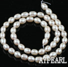 Pearl Beads, White, 5-6mm natural rice shape, Sold per 14.2-inch strand