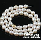 Pearl Beads, White, 5-6mm natural rice shape, Sold per 14.6-inch strand