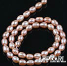Pearl Beads, Pink, 5-6mm natural rice shape, Sold per 14.6-inch strand
