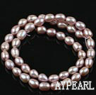 Pearl Beads, Purple, 5-6mm natural rice shape, Sold per 14.6-inch strand