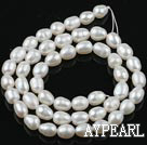 Pearl Beads, White, 6-7mm natural rice shape, Sold per 14.2-inch strand