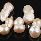 Pearl Beads, White, 10*18mm natural partial hole, peanut shape, Sold per 15-inch strand