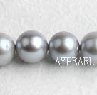Pearl Beads, Grey, 10*11mm natural, Sold per 15.7-inch strand
