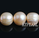 Freshwater Pearl Beads with Growth Grain, Natural Pink, 11-12mm, Nearly Round, Sold per 15.4-Inch Strand,11-12mm