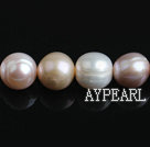 Freshwater Pearl Beads with Growth Grain, Natural White Pink Purple Color, 11-12mm, Nearly Round, Sold per 15.4-Inch Strand,11-12mm