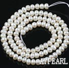 Pearl Beads, White, 4-4.5mm natural abacus, Sold per 14.57-inch strand