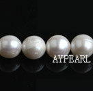 Pearl Beads, White, 10-11mm natural, Sold per 15.4-inch strand