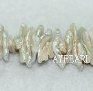 Biwa freshwater pearl beads, white, 4*6*20mm keshi. Sold per 15.4-inch strand.