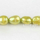 Pearl Beads, Yellowish Green, 8-9mm dyed baroque, Sold per 14.8-inch strand