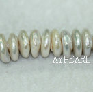 Coin shape freshwater pearl overlapping beads,White,5*12mm