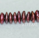 Freshwater pearl beads, red, 5*12mm coin. Sold per 15.7-inch strand.