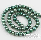 Pearl Beads, Dark Olive Green, 6-7mm dyed, 14.4-inch strand