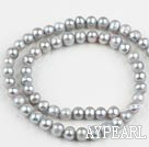 Pearl Beads, Grey, 6-7mm dyed, 14.4-inch strand