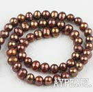 Pearl Beads, Brown, 6-7mm dyed, 14.4-inch strand