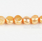 Pearl Beads, Light Orange, 8-9mm dyed double sides flashing, Sold per 14.57-inch strand