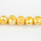 Pearl Beads, Bright Yellow, 8-9mm dyed double side flashing, Sold per 14.57-inch strand