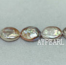 Freshwater pearl beads, purple, 10-11mm oval coin. Sold per 14.8-inch strand.