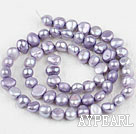 Pearl Beads, Violet, 6-7mm dyed, potato shape, Sold per 14.2-inch strand