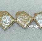 Freshwater pearl beads, yellow, 5*12mm diagonal square. Sold per 14.8-inch strand.
