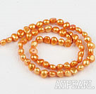 Pearl Beads, Saffron, 6-7mm dyed, potato shape, Sold per 14.2-inch strand