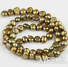 Pearl Beads, Yellowish Brown, 6-7mm dyed, potato shape, Sold per 14.2-inch strand