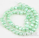 Pearl Beads, Light Green, 6-7mm dyed, potato shape, Sold per 14.2-inch strand